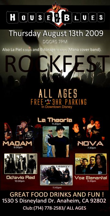 House Of Blues August Rockfest - rock en espa�ol - rockeros.net