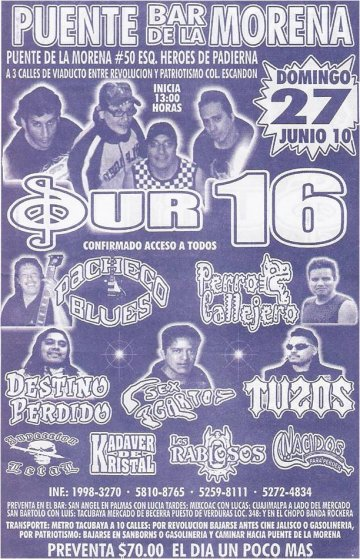 Sur 16 Y Pacheco Blues En El Bar Puente De La Morena Escandon - rock en espa�ol - rockeros.net