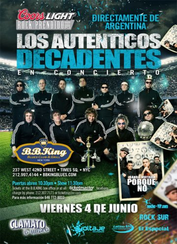 Los Autenticos Decadentes En Bb Kings - rock en espa�ol - rockeros.net