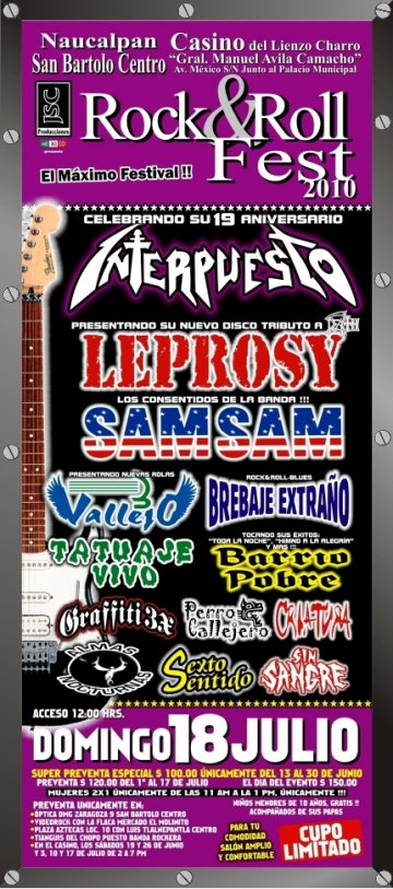Rock And Roll Fest 2010 Interpuesto Leprosy Sam Sam Casino Lienzo Charro - rock en espa�ol - rockeros.net