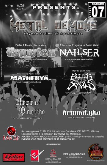 Metal Demons En El Bar 38 Con Hyperion Nailser Matherya Y Mas Mexico Df - rock en espa�ol - rockeros.net