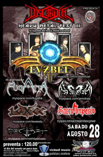 Heavy Metal Fest Iii Con Lvzbel Fugatta Amok Pool Bar Zacatecas - rock en espa�ol - rockeros.net