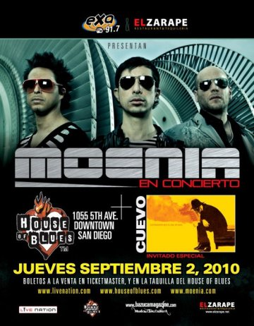 Moenia En El House Of Blues De San Diego Junto Con Cuevo - rock en espa�ol - rockeros.net