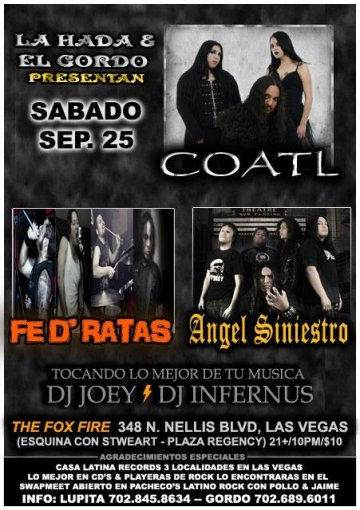 Coatl Fe De Ratas Angel Siniestro En The Fox Fire Las Vegas Nevada - rock en espa�ol - rockeros.net