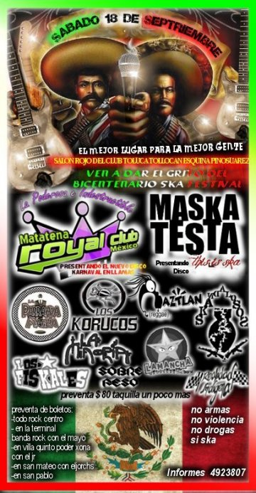 La Royal Club Maskatesta Parranda Magna En El Club Toluca Mexico - rock en espa�ol - rockeros.net