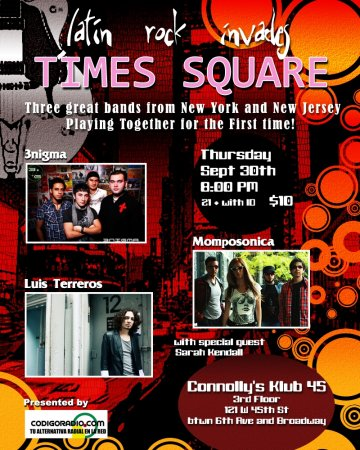 Latin Rock Invades Times Square 3nigma Momposonica Luis Terros Connollys Club Ny - rock en espa�ol - rockeros.net