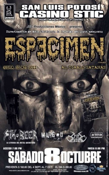 Especimen Six Beer Wargod Actitud Contaminante En El Casino Stic De San Luis - rock en espaol - rockeros.net