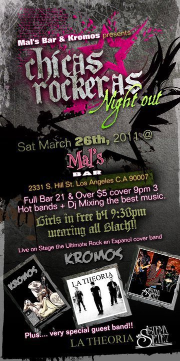 Chicas Rockeras Night Out Kromos La Theoria Sistema 7 Mals Bar Los Angeles Ca - rock en espa�ol - rockeros.net