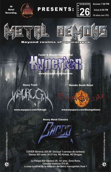 Metal Demons Hyperion Valrogh Disangelium Bacco La Palapa Bar Mexico Df - rock en espa�ol - rockeros.net