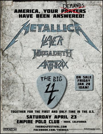 The Big 4 Metallica Megadeth Slayer Antrax Empire Polo Club Indio California - rock en espa�ol - rockeros.net