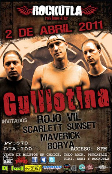 Guillotina Rojo Vil Scarlett Sunset Maverick Rockutla Rock House Puebla Mx - rock en espa�ol - rockeros.net