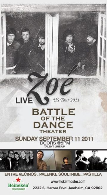 Zoe Tour 2011 Unplugged Musica De Fondo En Battle Of The Dance Theatre Anaheim - rock en espa�ol - rockeros.net