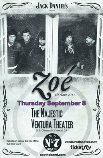 Zoe Unplugged Musica De Fondo En The Majestic Theatre De Ventura California - rock en español - rockeros.net
