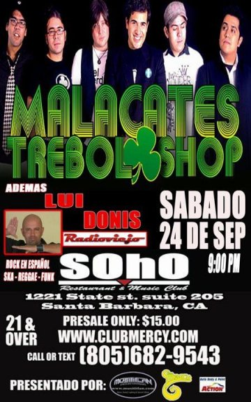 Malacates Trebol Shop Y Lui Donis En El Club Soho De Santa Barbara California - rock en espa�ol - rockeros.net