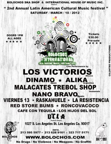 Bolochos International Ska Reggae Music Fest 2012 Dinamo Malacates Los Angeles - rock en espa�ol - rockeros.net