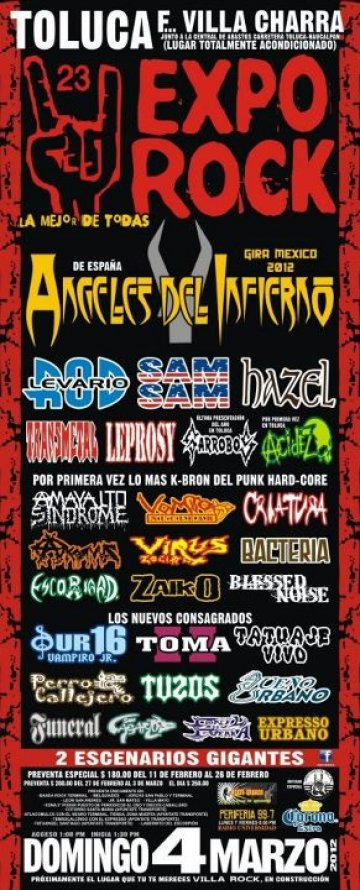 Expo Rock Angeles Del Infierno Rod Levario Sam Sam Hazel Villa Charra Toluca Mx - rock en espa�ol - rockeros.net