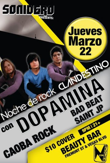 Dopamina Caoba Rock Y Bad Beat En El Beauty Bar De Las Vegas Nevada - rock en espa�ol - rockeros.net