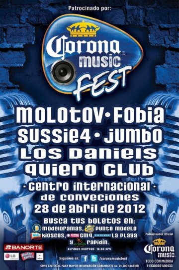 Corona Music Fest 2012 Puerto Vallarta Molotov Fobia Sussie 4 Jumbo Los Daniels - rock en espaol - rockeros.net