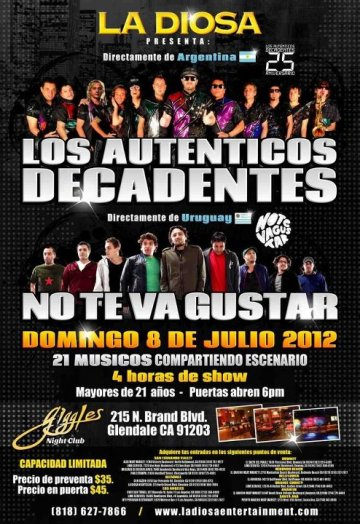 Los Autenticos Decadentes Y No Te Va Gustar Giggles Night Club Glendale Ca - rock en espa�ol - rockeros.net