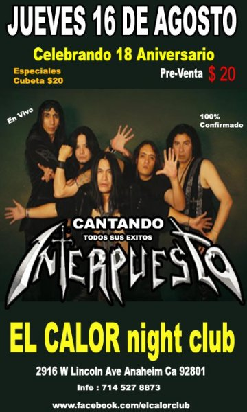 Celebrando 18 Aniversario Interpuesto En El Calor Night Club Anaheim Ca - rock en espa�ol - rockeros.net