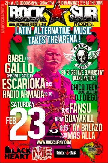 Latin Alternative Babel Gallo Arena Queens - rock en espa�ol - rockeros.net