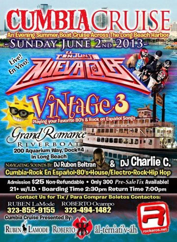 Cumbia Cruise Conjunto Nueva Ola Vintage 3 Grand River Boat Long Beach Ca - rock en español - rockeros.net