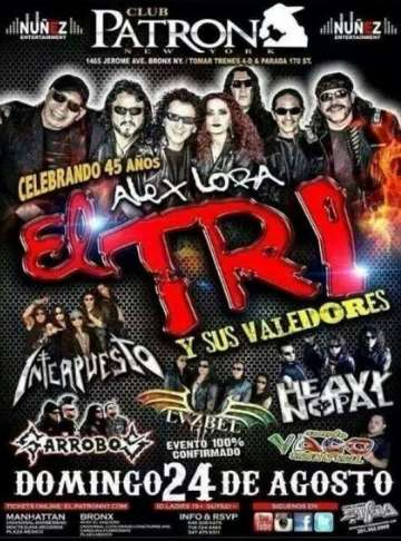 Club Patron Alex Lora Interpuesto Garrobos Lvxbel Heavy Nopal Bronx New York - rock en espa�ol - rockeros.net