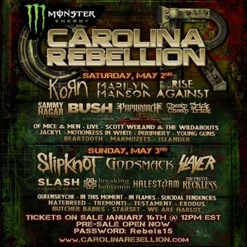 Carolina Rebellion Korn Marilyn Manson Bush Sammy Hagar Rise Against Y Mas - rock en español - rockeros.net