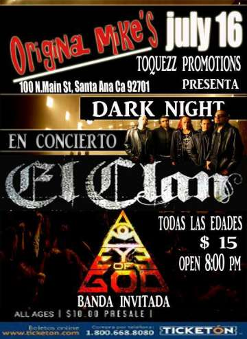 Dark Night Con El Clan Y Eye Of God - rock en espa�ol - rockeros.net