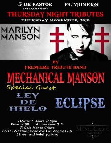Thursday Night Tributes Mechanical Manson Ley De Hielo Eclipse - rock en espa�ol - rockeros.net
