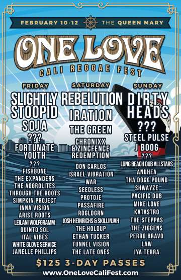 One Love Cali Reggae Fest Feb 10-12 Slightly Stoopid Soja Y Muchos Mas - rock en espa�ol - rockeros.net