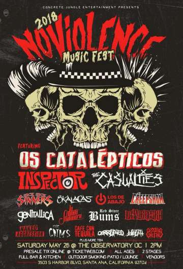 No Violence Fest 2018 Os Catalepticos Inspector The Casualities Observatorio Oc - rock en español - rockeros.net