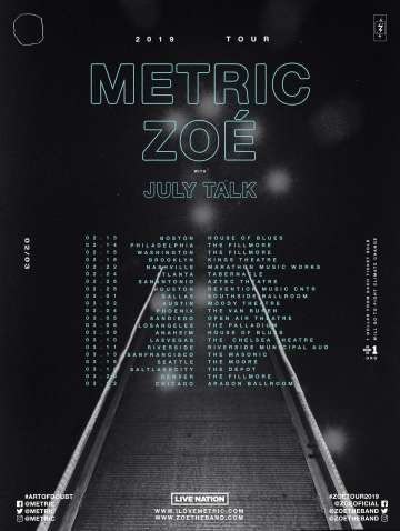 Tour 2019 Zoe Metric July Talk En Boston - rock en espa�ol - rockeros.net